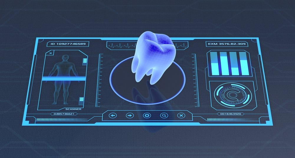 digital image of a tooth on tablet