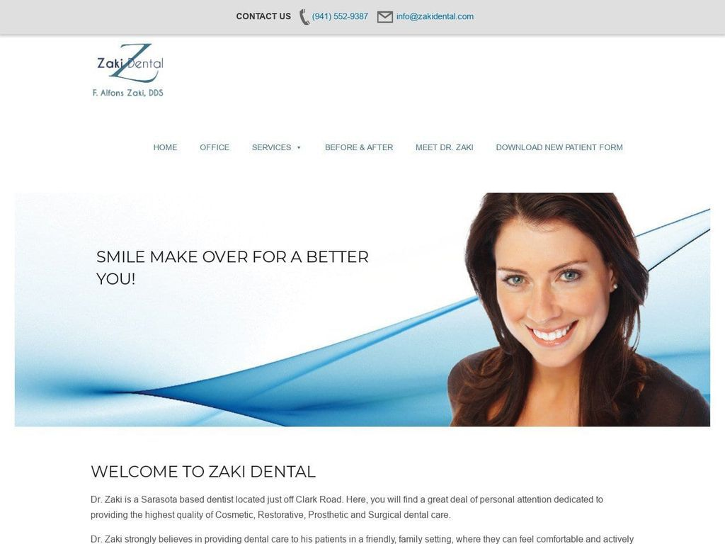 Dr. F. ALFONS ZAKI Website Screenshot from zakidental.com