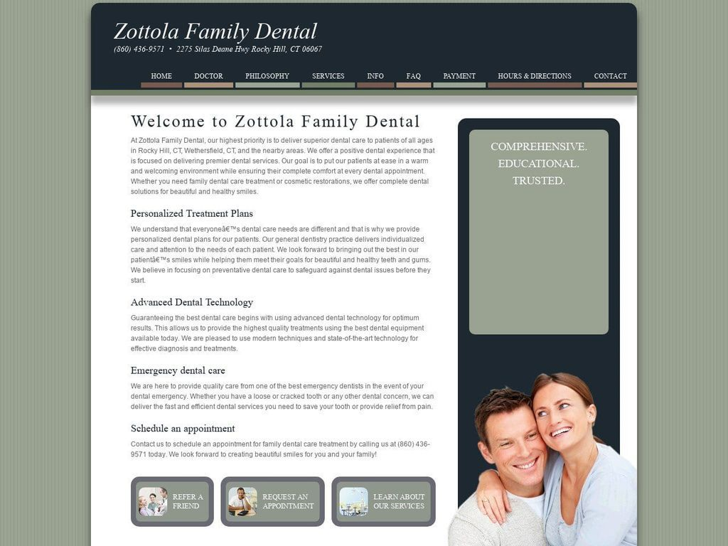 Zottola Periodontal Group Website Screenshot from zfdental.biz