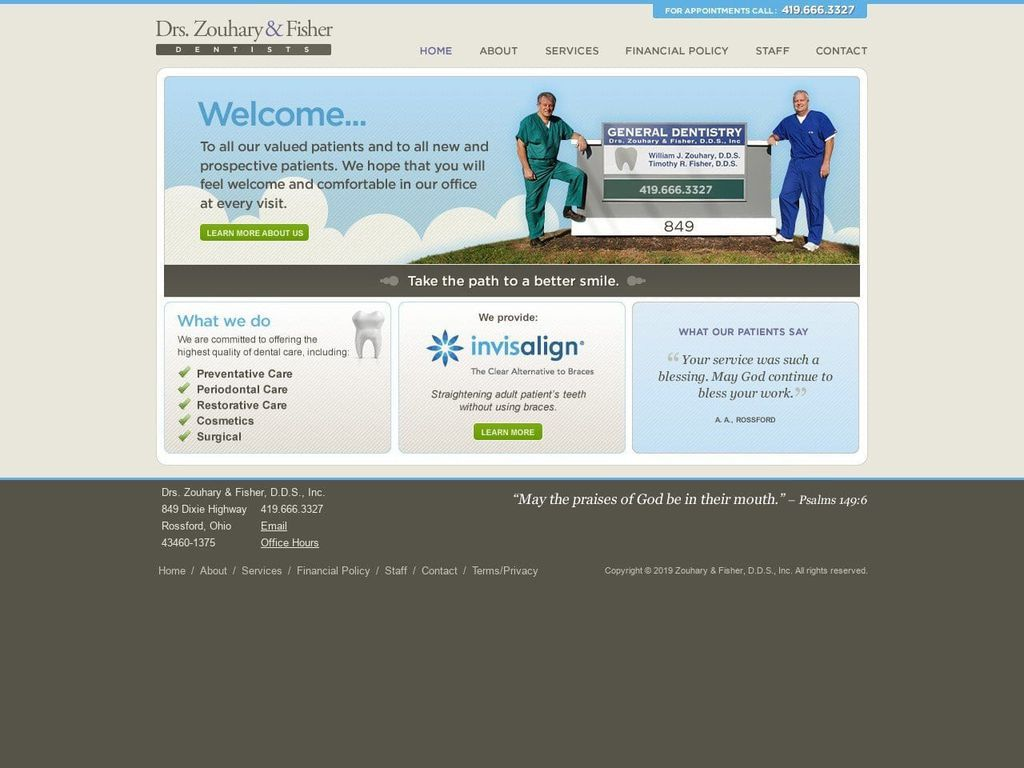Zouhary & Fisher Inc Website Screenshot from zfdentists.com