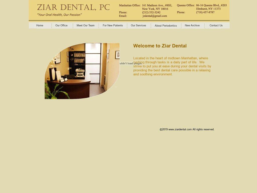 Ziar Dental PC Website Screenshot from ziardental.com