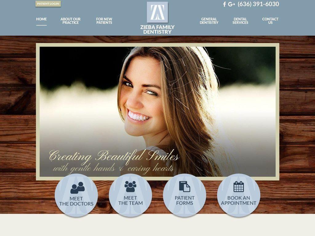 Zieba Family Dentist Website Screenshot from ziebafamilydentistry.com
