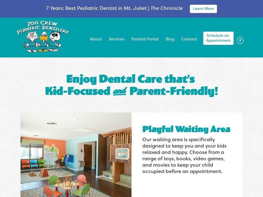 Hermitage Pediatric Dentistry Website Screenshot from zoocrewdentist.com