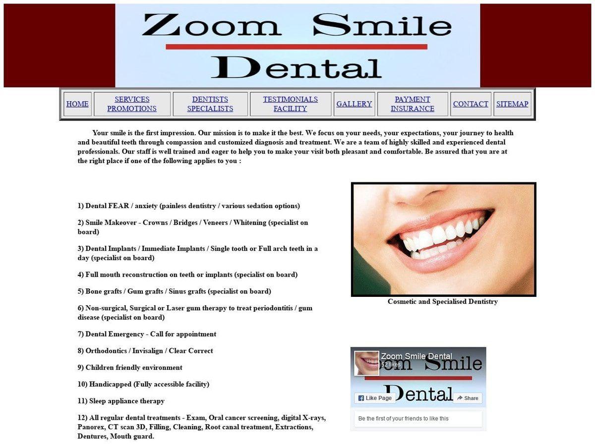 Zoom Smile Pc Website Screenshot from zoomsmiledental.com